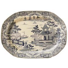 Large Blue and White Davenport Platter
