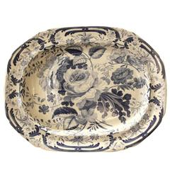 Large Floral Pattern Platter with Well