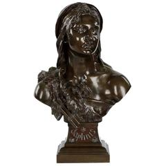 "French Antique Bronze Sculpture Bust of ""Daphnis"" by Etienne Henri Dumaige"