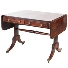 Fine Regency Brass Inlaid Rosewood Safe Table