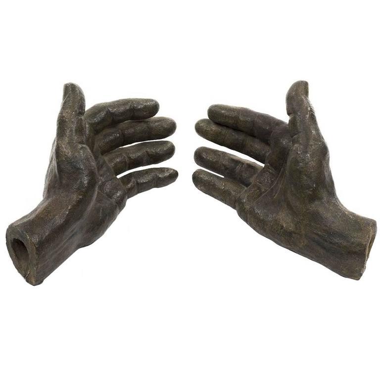 Pair of Ceramic Hands with Bronze Glaze