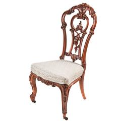 Wonderful Outstanding Victorian Carved Walnut Occasional Chair For Sale At 1stdibs