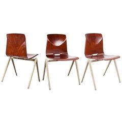 Plywood Galvanitas Pagholz Stock of 8 School Chairs 1960s Dutch Design
