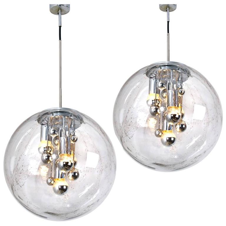 Pair of Large Handblown Bubble Glass Pendant Lights from Doria, 1970s