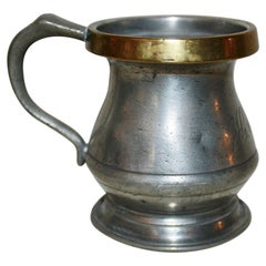 19th Century Victorian Pewter Beaker with Brass Rim