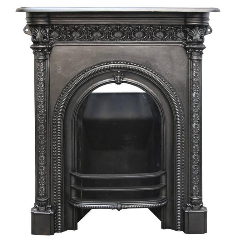 Antique Mid-Victorian Arched Cast Iron Fireplace