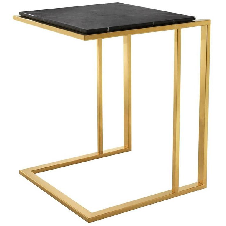 Apetizer Side Table in Gold Finish and Black Marble Top