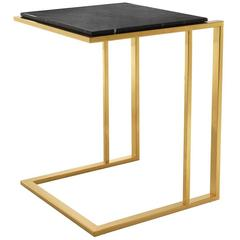 Monolith Side Table In Absolute Black Marble For Sale At