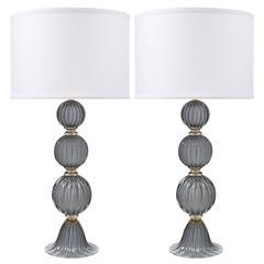 """Zwei Lampen """"Minerva"""" aus italienischem Muranoglas"""