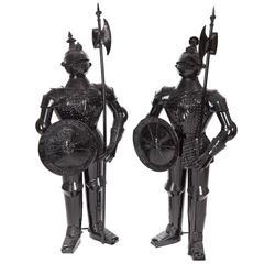 Unusual Pair of Metal Knights in Armour