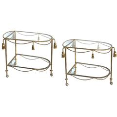 Chic Pair of Italian Hollywood Regency Gilt-Tole Drinks Carts with Glass Shelves
