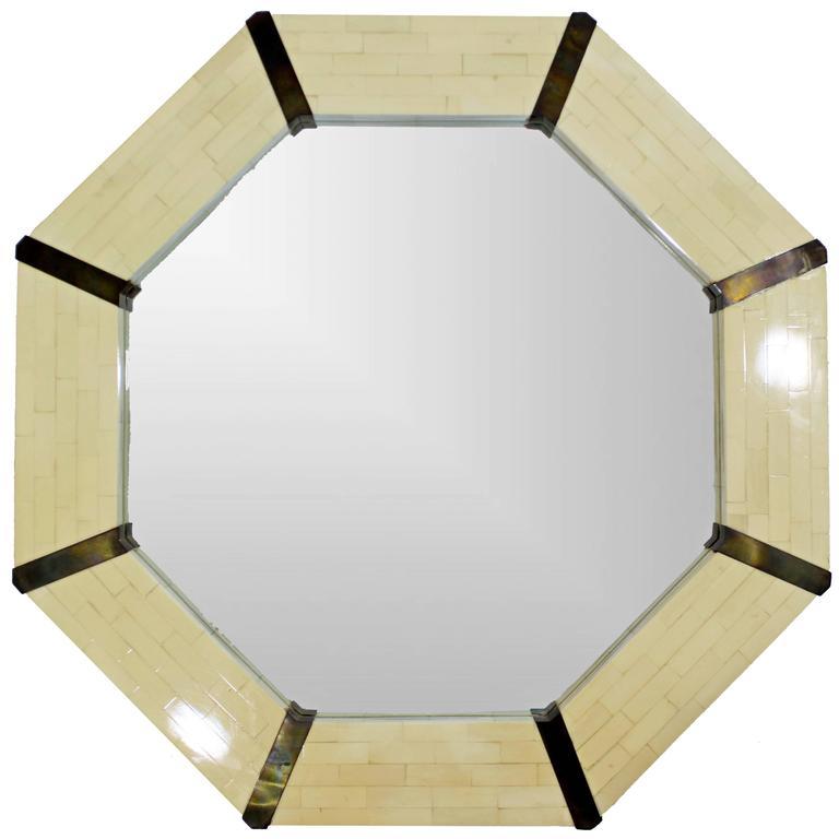 Mid-Century Modern Tessellated Bone & Brass Octagon Mirror, 1970s Springer Style