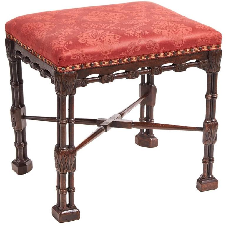 George II Mahogany Chinese Chippendale Stool