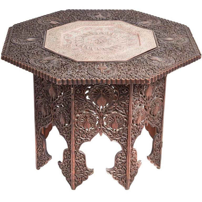 Unusual octagonal carved hardwood centre table for sale at for Unusual tables for sale