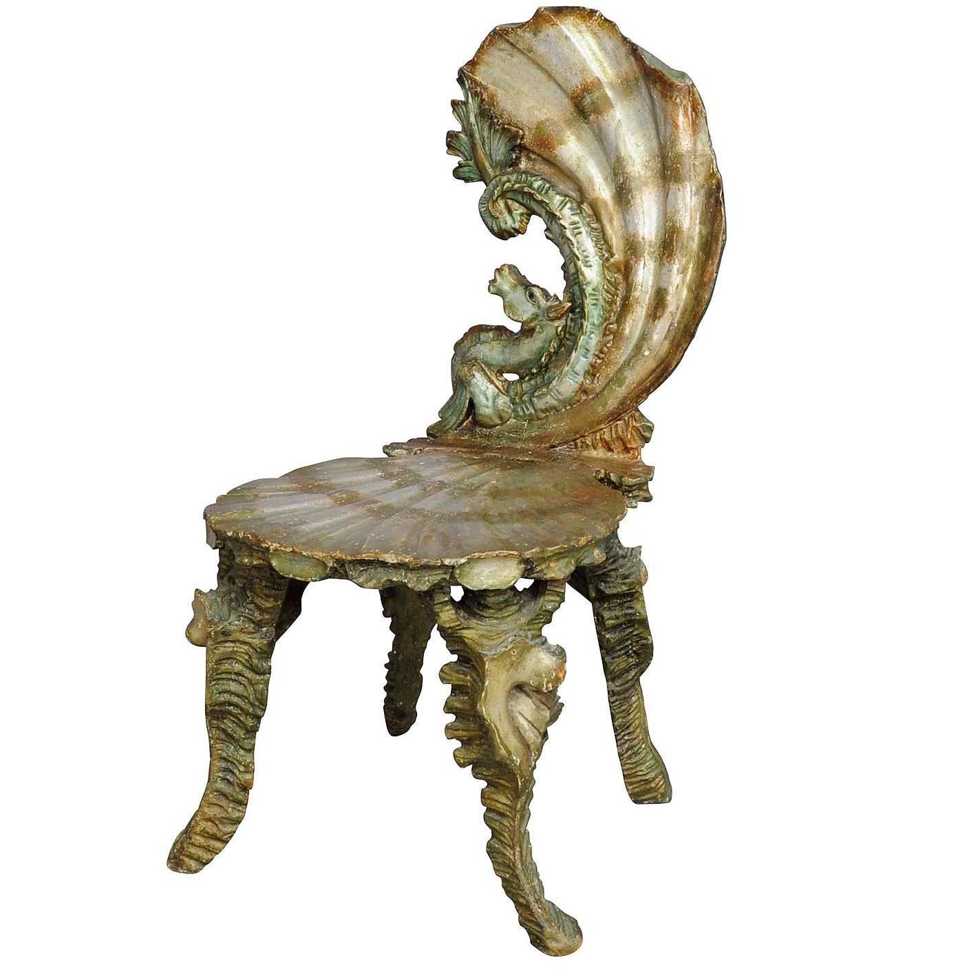 Merveilleux Antique Venetian Carved Grotto Chair, Circa 1880
