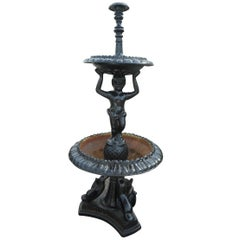 Beautiful Cast Iron Fountain with Two Reservoirs