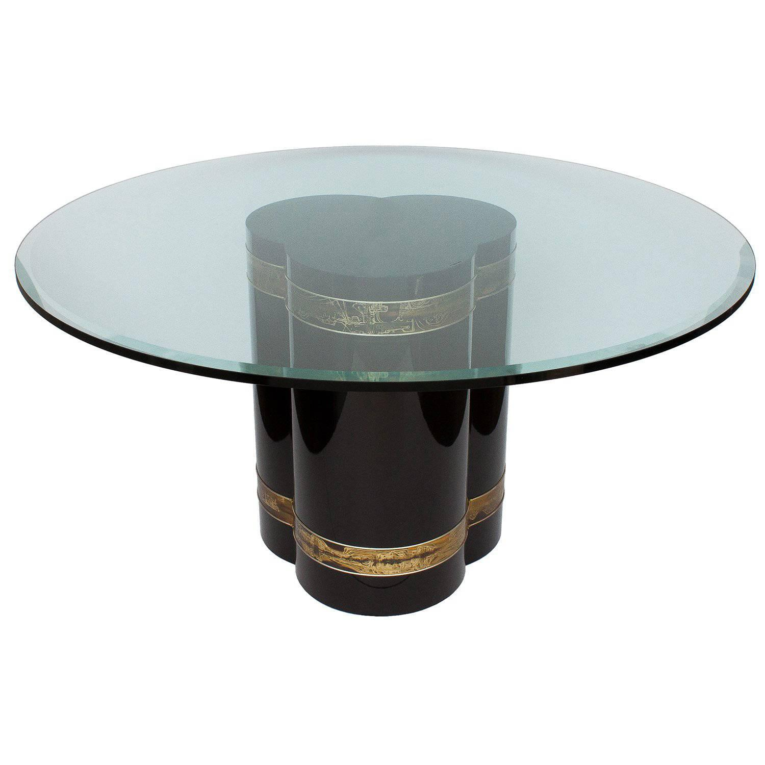 Bernhard Rohne Acid Etched Brass Black Lacquered Pedestal Dining