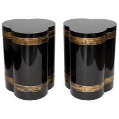 Pair Bernhard Rohne Acid Etched Brass Lacquered Pedestal Dining Table Bases