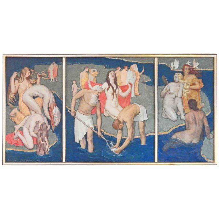 """""""Parable,"""" Large Art Deco Triptych Mural with Nudes by Liberty Memorial Painter"""