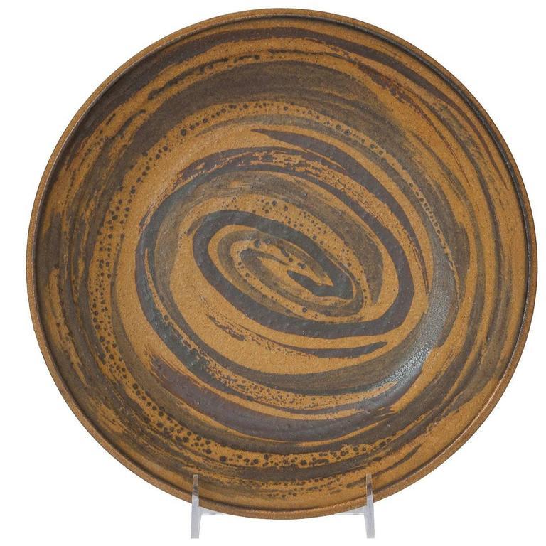 Mid-Century Ceramic Low Bowl Signed Pedersen