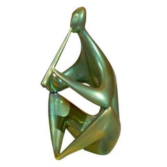 1960s Iridescent Zsolnay Ceramic Sculpture of a Flute Player in Eosine Glaze