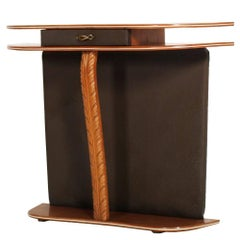 Mid-Century Console Attributable to Ico Parisi in Cherrywood and Brown Leather