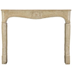 18th Century French Country Limestone Fireplace Mantel