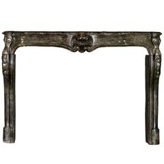18th Century French Country Limestone Fireplace Mantle