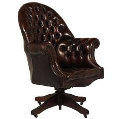 Regency-Style Tufted Leather Office Chair