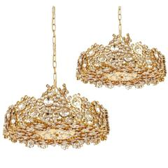 Pair Palwa Crystal Glass Gold Plated Brass Chandeliers Refurbished Lamps, 1960