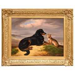 """""""Best of Friends"""" by Samuel John Carter Two Dogs Stormy Sea Sand Dunes"""