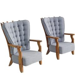 Guillerme & Chambron Carved Oak High Back Chairs