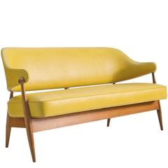 Danish Settee in Summer Yellow Ohmann Leather and Teak