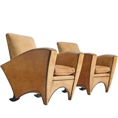 Pair of Cognac Leather Club Chairs, 1960s