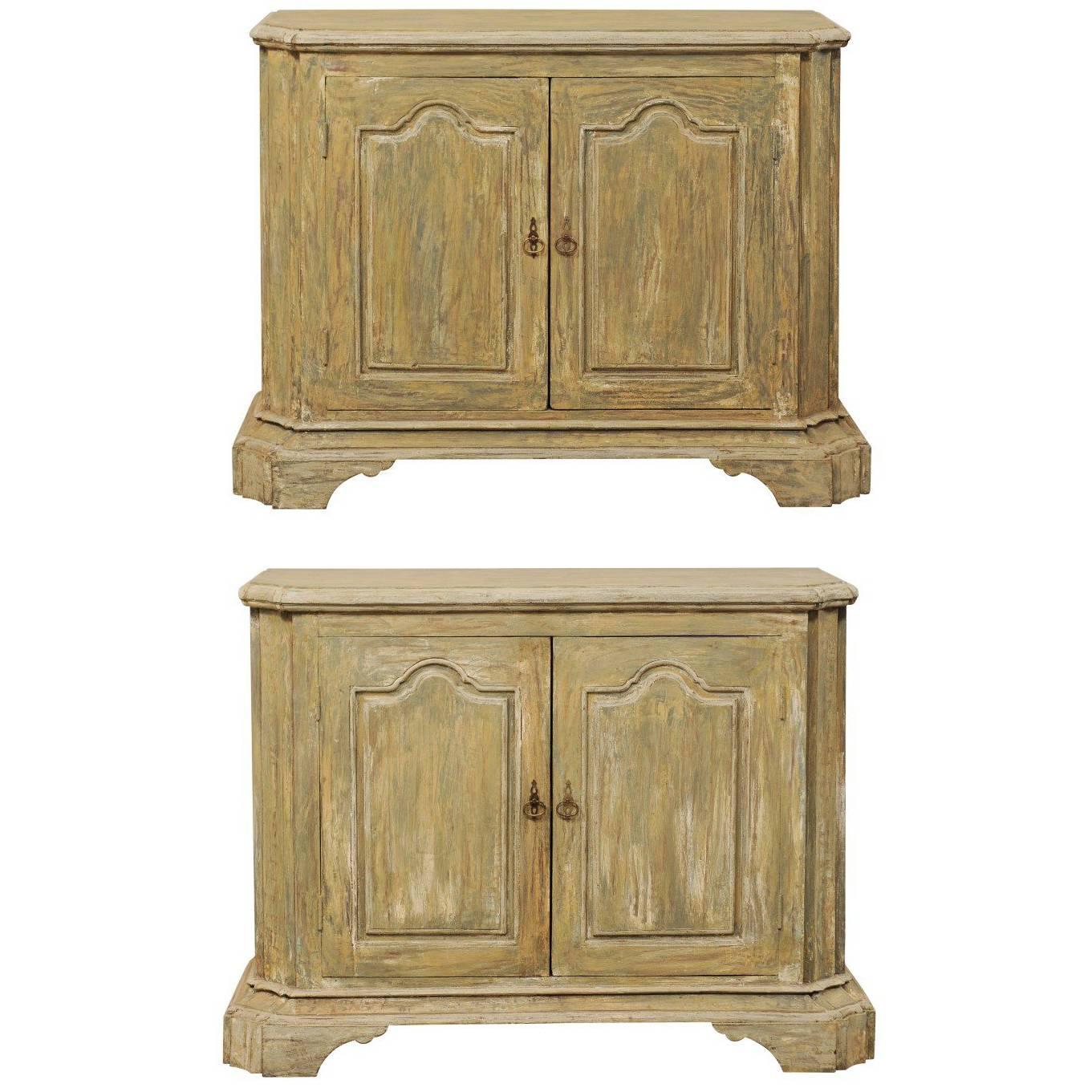 Pair of Custom American Two-Door Painted Wood Buffet Consoles with Bracket Feet
