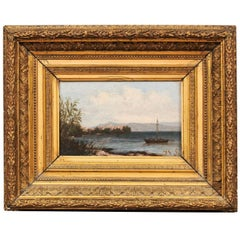 Giltwood Framed Oil on Board Seascape Painting, 19th Century France