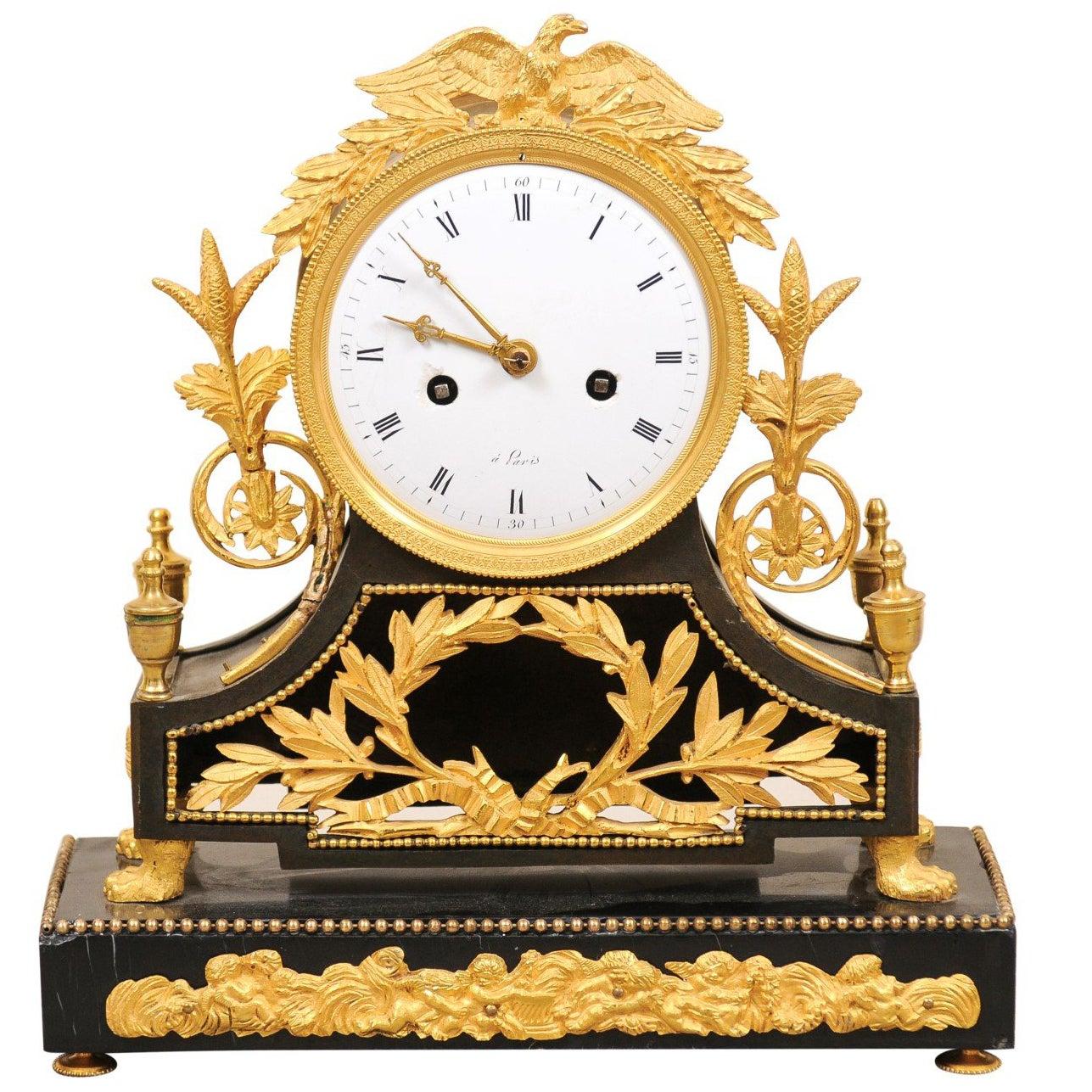 19th Century French Empire Bronze Dore Mantle Clock