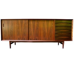 Danish Modern Rosewood Sideboard or Credenza by Arne Vodder