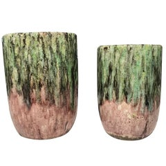Green and Pink Drip Design Pot, Thailand, Contemporary