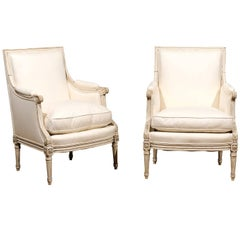 French Pair of Early 20th Century Painted Bergere Armchairs