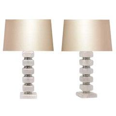 Pair of Cubic Form Rock Crystal Quartz Lamps