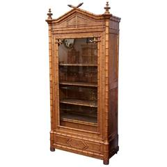 Faux Bamboo Armoire or Bookcase of Curly Maple