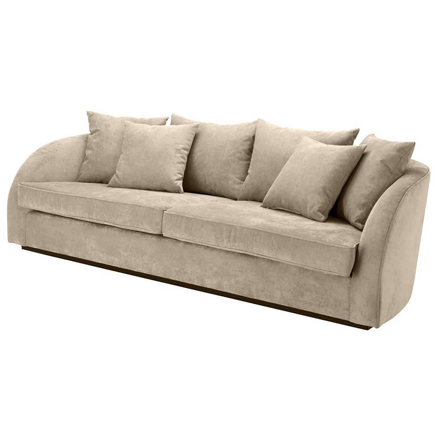 Miami Lounge Sofa With Greige Velvet Fabric For Sale