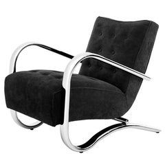 Stans Armchair with Black Velvet and Polished Stainless Steel