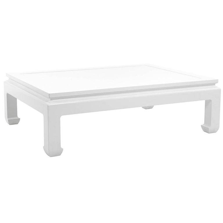 Bengal coffee table in white lacquered mahogany wood, current production