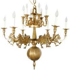 Brass Lion Spanish Chandelier