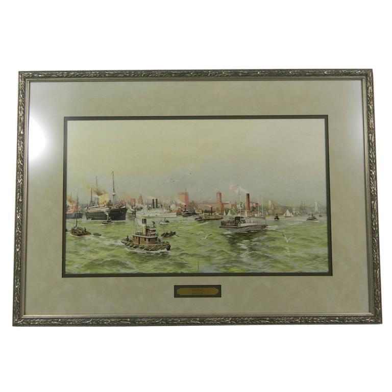Framed Lithograph of New York Harbor, circa 1900