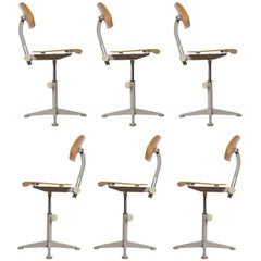 Set of Six Dutch Architect Adjustable Revolving De Cirkel Chairs by Friso Kramer