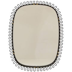 Josef Frank Style Brass and Black Enamel Mirror