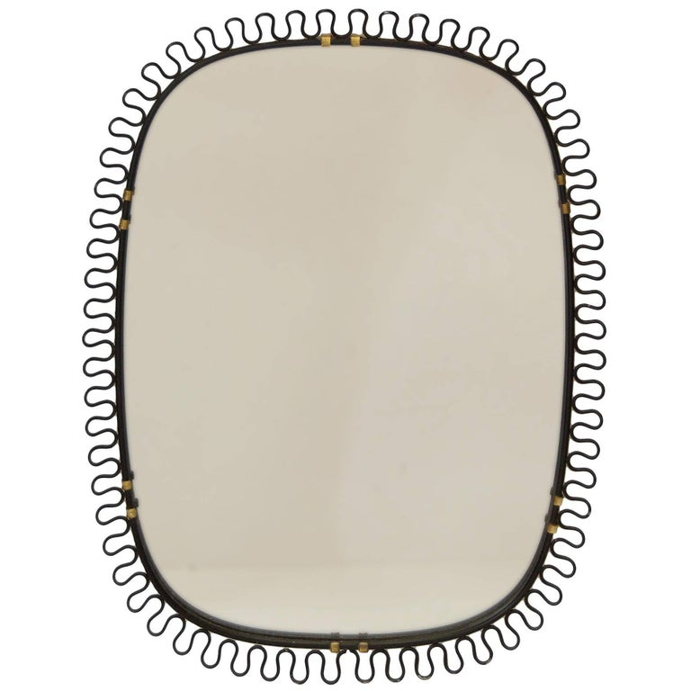 Josef Frank Brass and Black Enamel Mirror For Sale